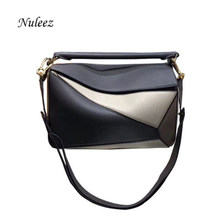 Nuleez geometry bag colorful saddle wallet Li-chi plain pillow pack first layer cowhide leather genuine luxury quality classic(China)