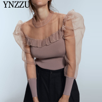 Organza Puff sleeve Women sweater Sexy 2019 Autumn Fashion Ruffles Patchwork Knitted pullover tops Spring Slim Pink YNZZU YT744