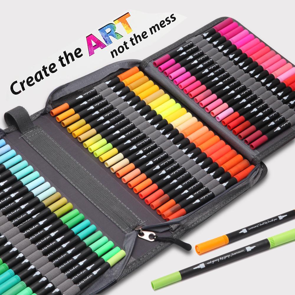 Двусторонние маркеры для кистей, 12-132 цветов, ручка с тонким наконечником и наконечником кисти, ручки для дневников-раскрасок, для взрослых, ...