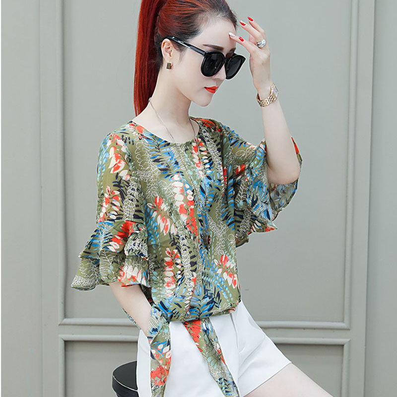 Women Spring Summer Style Chiffon Blouses Shirts Lady Casual Flower Printed Bow Tie Docor Loose Blusas Tops DF2897