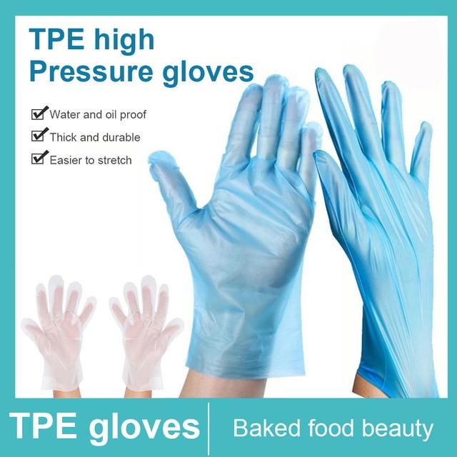 TPE Einweg Handschuhe Transparent/Blau 2