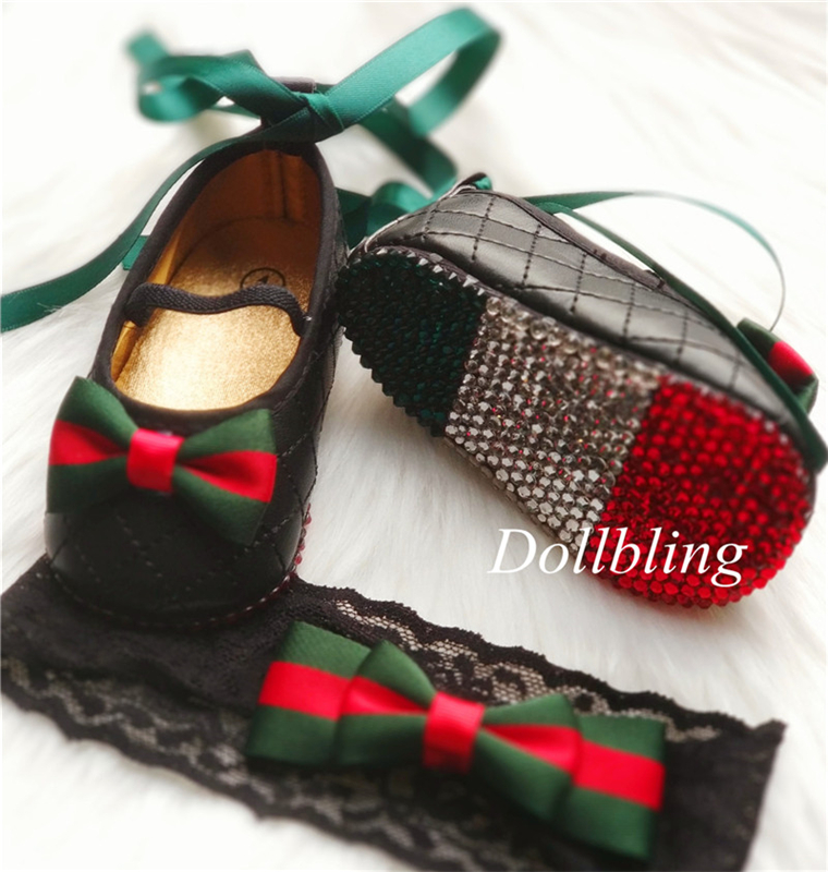 Dollbling Luxury Brand Inspired Crystals Baby Ballet Shoes Headband Vintage Red Green Striped Lolita Bebe First Walking Shoes