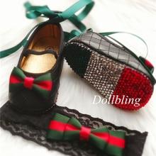 Dollbling marca de lujo inspirado cristales zapatos para niña bebé diadema Vintage rojo verde rayas Lolita Bebe primeros zapatos para caminar