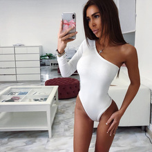 Cotton Slope One Shoulder Single Long Sleeve Bodysuit 2018 Summer Autumn Women S