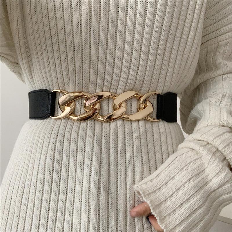 Punk Fashion Women Elastic Belts Designer Luxury Brand PU Thick Chain Waist Strap Dress Coat Sweater Lady Decorative Waistband