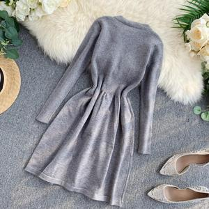 Image 3 - ALPHALMODA 2019 Autumn Butterfly Tie Knitted Long sleeved Dress Women Sweet Slender Waist Preppy Style Knitting Bottom Dress
