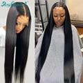 Rosabeauty 30 32 дюйма 13x4 прямой парик с фронтальной кружевной отделкой перуанские человеческие волосы 4x4 5X5 13X6 прозрачные парики с фронтальной шну...