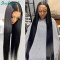 Rosabeauty 30 32 дюйма перуанские человеческие волосы 4x4 13x4 5X5 Закрытие Кружева передние парики предварительно выщипывание с волосами младенца пря...