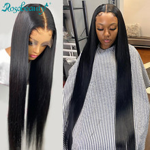 Rosabeauty – perruque Lace Frontal Wig péruvienne naturelle, cheveux lisses, 4x4 13x4, 28 30 pouces, pre-plucked, avec Baby Hair