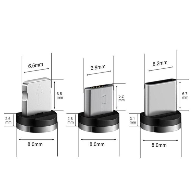 Ronde Magnetische Kabel Plug 8 Pin Type C Micro Usb C Stekkers Snelle Opladen Telefoon Magneet Charger Plug Voor Iphone 1M Laadstroom Cord 4