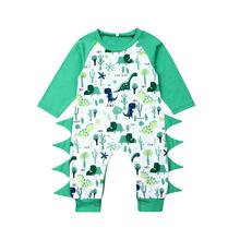 купить Fall babies clothes Newborn Kid Clothing Baby Boy Cartoon Dinosaur long sleeve Romper Jumpsuit romper Tops Outfits Clothes D20 дешево