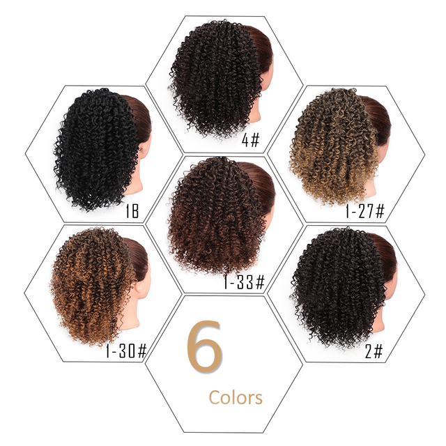 AISIBEAUTY Afro Kinky Curly Hair Extension Drawstring Puff Ponytail Synthetic Clip in Pony Tail  African American Hair Extension 2