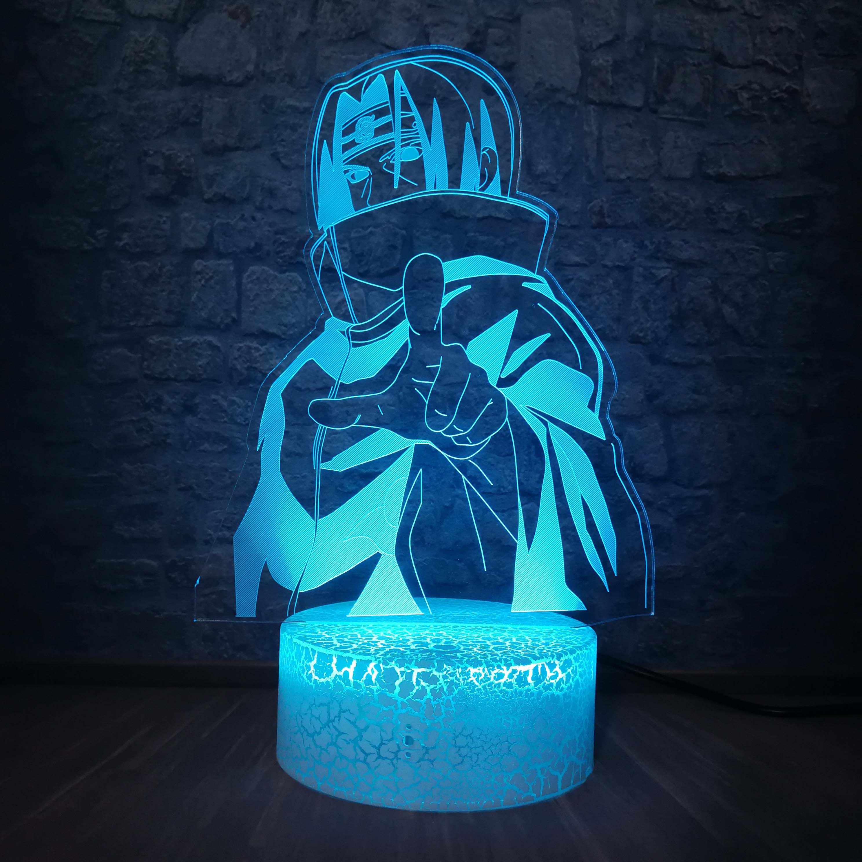 colorato Visual color Lampada cambiante della Tabella Remote Touch lampada da comodino ornamenti creativa sveglia LED LED Decorative Piccolo Lampada da tavolo Luce 3D Notte NARUTO Itachi Uchiha
