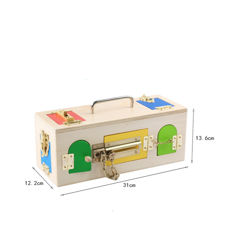 Купить с кэшбэком New Wooden Baby Toys Montessori Colorful Lock Box Early  Educational lock Toy Baby Gifts