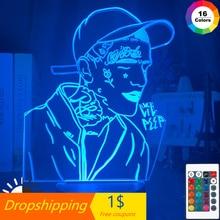 Led-Night-Light 3d-Lamp Rapper Lil Peep Gift Home-Decoration Colorful Ce for Fans Celebrity