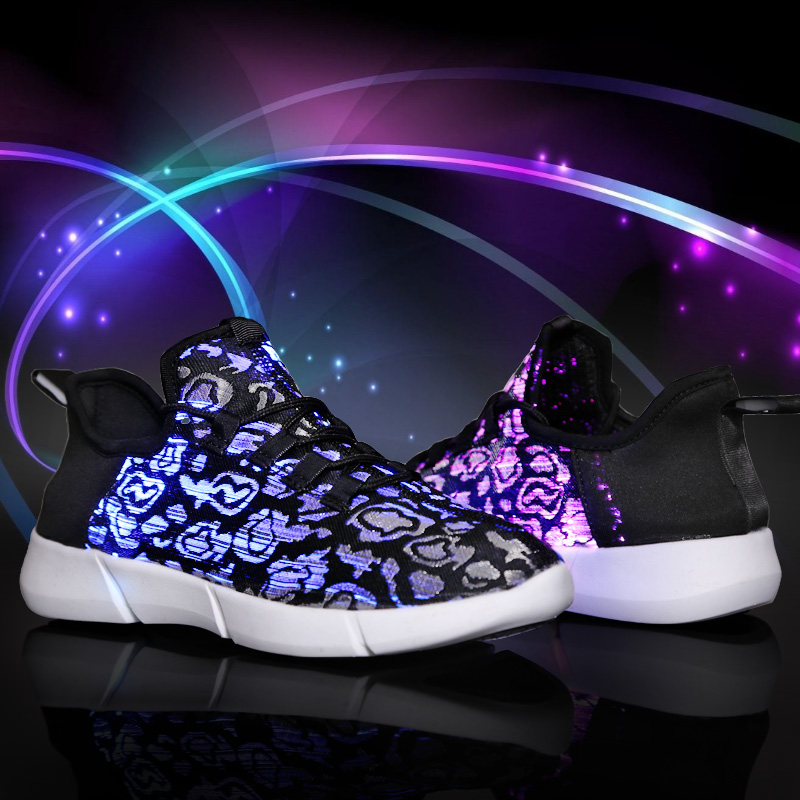 UncleJerry Size 25-47 New Summer Led Fiber Optic Shoes for girls boys men women USB Recharge glowing Sneakers Man light up shoes 5