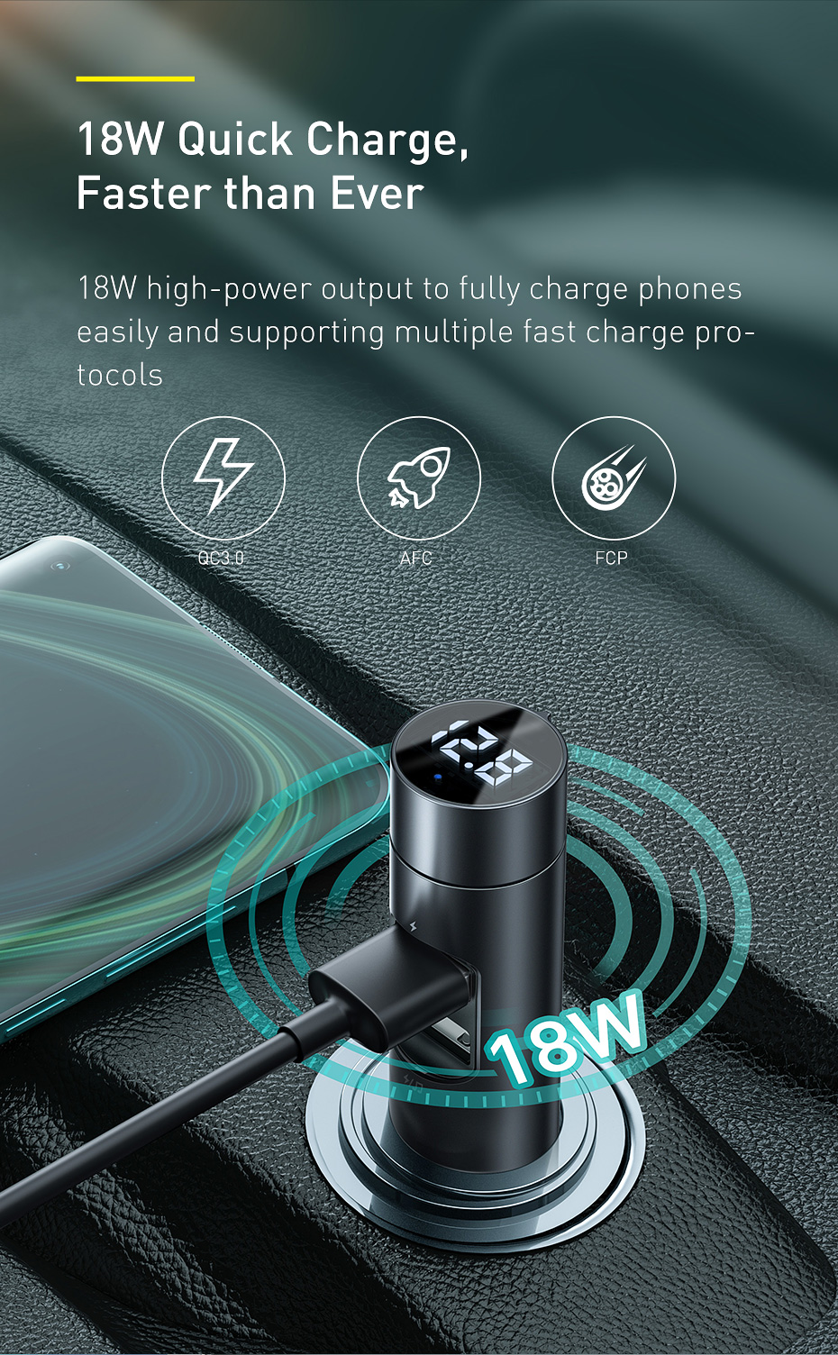 Baseus 18W Car Charger with MP3 Player 2