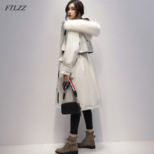 FTLZZ Large Real Fox Fur 90% White Duck Down Long Coat Winter Jacket