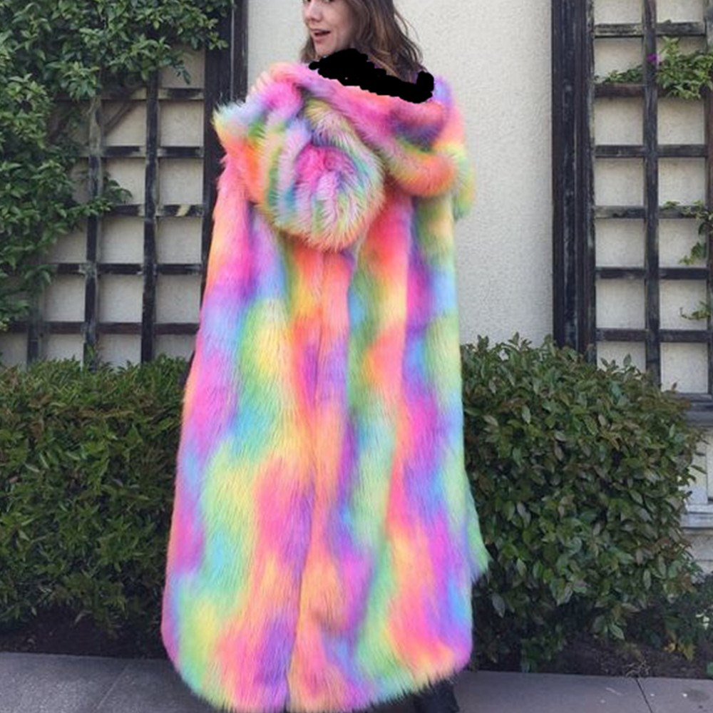Fall Winter Multicolor Maxi Long Faux Fur Coat V-Neck Women Hooded Thernal Coats Women Clothes Hoodies Outerwear
