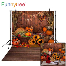 Funnytree photography background Halloween autumn pumpkin wood wall board indoor decoration children party photocall photobooth