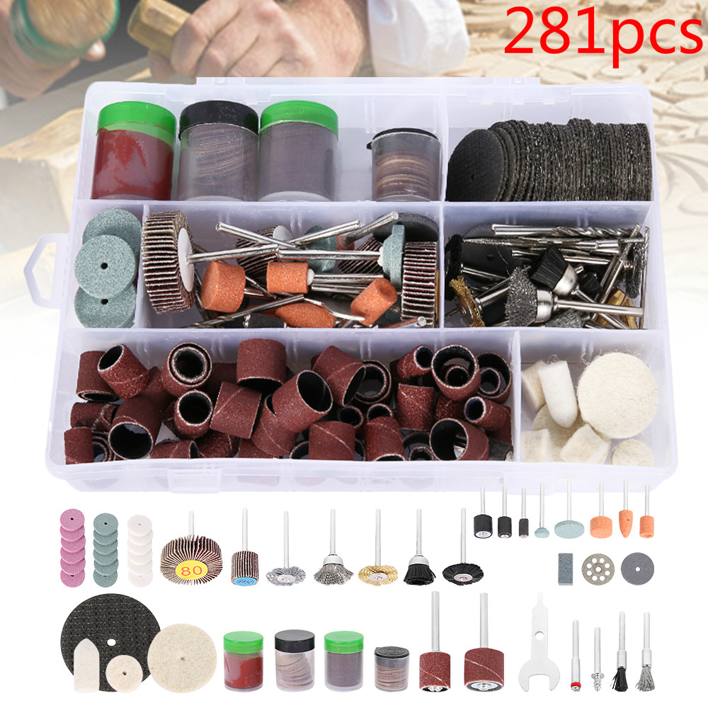 281pcs Dremel Rotary Power Tool Kit Wood Metal Engraving Electric Rotary Mill Tool Accessory For Dremel Bit Grinding Polishing