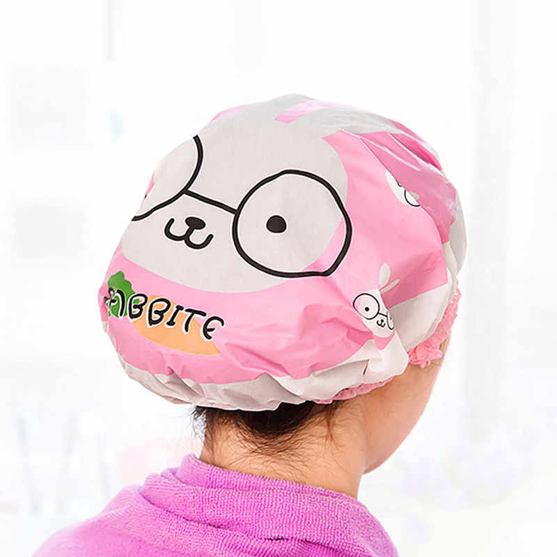 1PC Cartoon Tier Wasserdicht Dusche Kappe Verdicken Elastische Bad Hut Bade Kappe für Frauen Haar Salon Bad Produkte Dropship