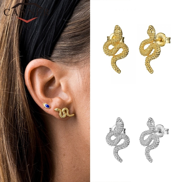 925 Sterling Silver Punk Snake Stud Earrings for Women Simple Gold Silver color Studs Female Fashion.jpg 640x640 - 925 Sterling Silver Punk Snake Stud Earrings for Women Simple Gold Silver color Studs Female Fashion Minimalist Jewelry