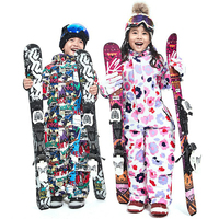 Childrens Winter Ski Set Jumpsuit Girl Overalls Boy Outdoor Snowboard Jacket Waterproof Skiing Suit Warm Windproof Kids Clothing