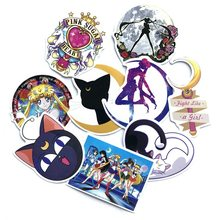 9pcs Classics Anime Cute Sailor Moon Stickers For Girl Children Mobile Phone Laptop Luggage Guitar Case Skateboard Bike Stickers(China)