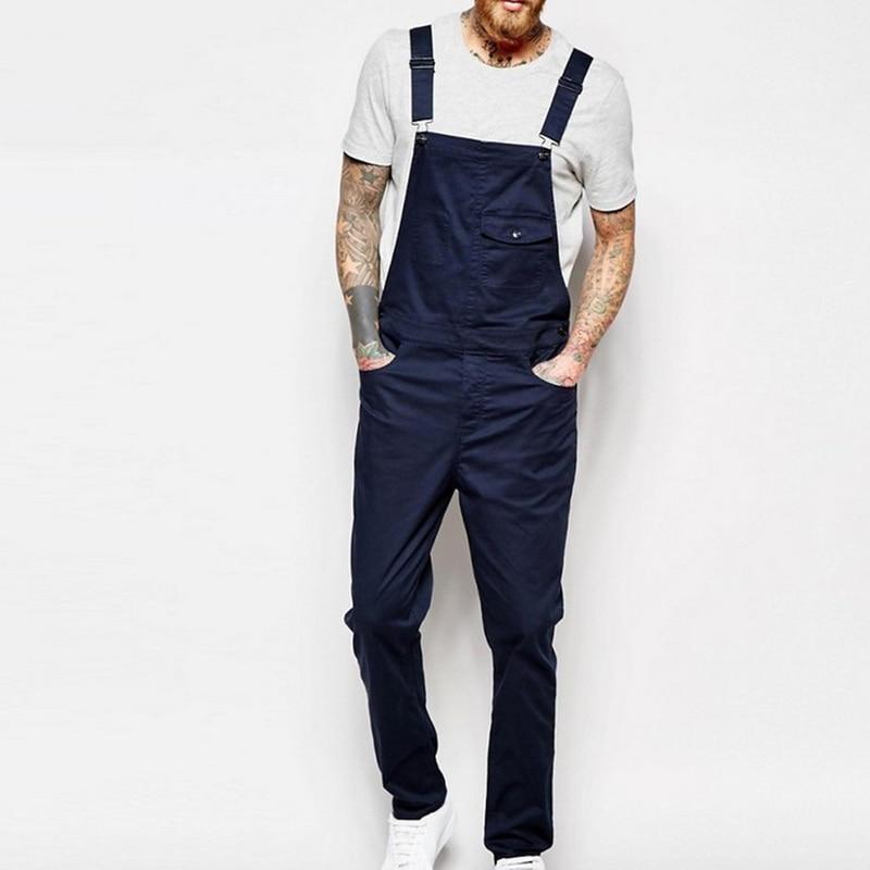 MONERFFI For Man Suspender Pants Men's Jeans Jumpsuits High Street Distressed 2020 Autumn Fashion Denim Male Plus Size S-3XL 9