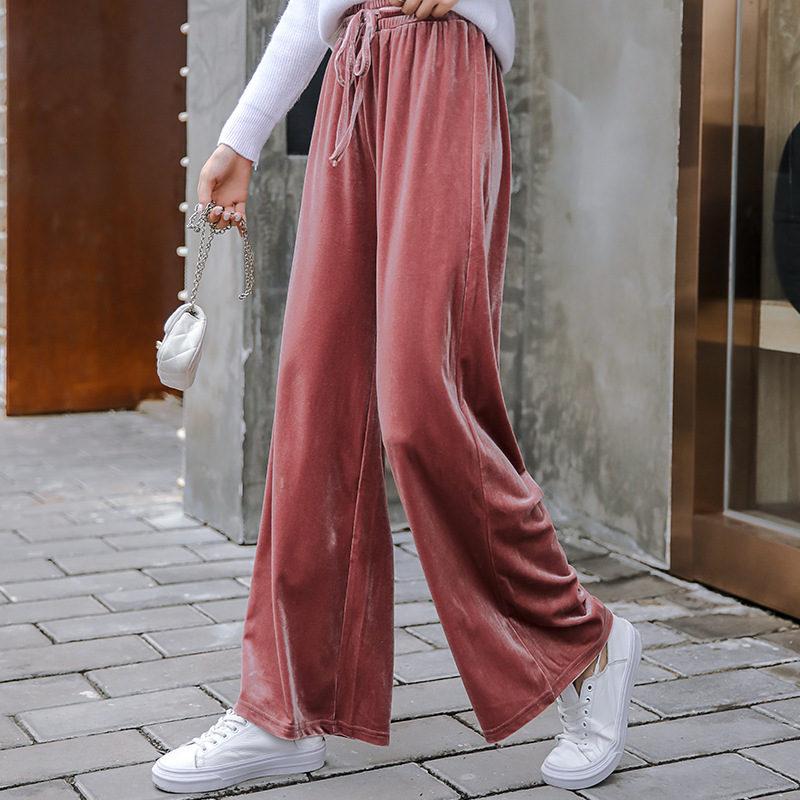 Autumn Winter Gold Velvet   Wide     Leg     Pants   Women Lace Up High Waist   Pants   Loose Long Trousers Pantalones Mujer Woman   Pants   C5909