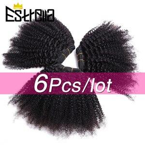 Афро кудрявые вьющиеся пучки волос 100% человеческие пучки волос Remy 6 шт./лот монгольские пучки афро кудрявые человеческие волосы для наращив...