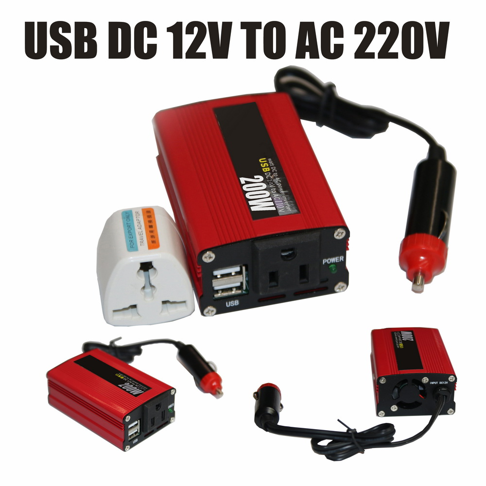<font><b>200W</b></font> <font><b>Inverter</b></font> Car Converter DC 24V to AC 110V with USB Port 50Hz Modified Sine Wave Portable Auto In Red Power <font><b>Inverter</b></font> With Fan image