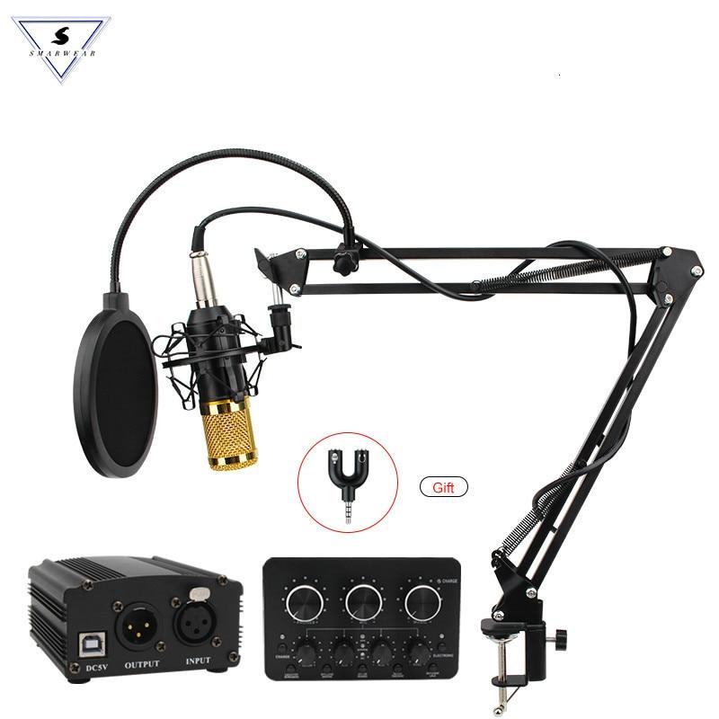 BM800 professionnel réglable condensateur Microphone Audio enregistrement Vocal pour KTV ordinateur karaoké puissance Pop filtre carte son