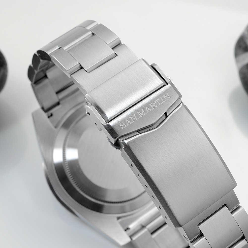 Relojes mecánicos automáticos de cristal de zafiro de lujo San Martin Diver Water Ghost 20Bar con abertura para fecha luminosa
