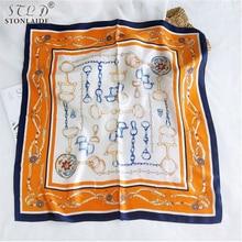 2020NEW Korean Chic square Imitation silk scarf shawls for women fashion Color stitching ladies scarves travel infinity