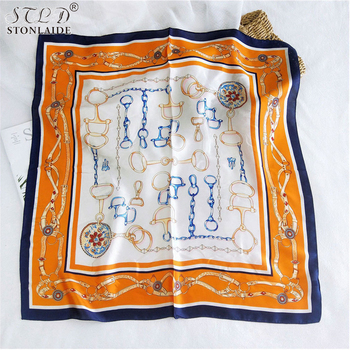 цена на 2020NEW Korean Chic square Imitation silk scarf shawls for women fashion Color stitching ladies scarves travel infinity scarf