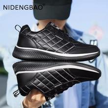 цена Men Running Shoes Breathable PU Leather Sneakers Waterprooof Sport Shoes Male Warm Non-slip Outdoor Walking Footwear Size 39-44 онлайн в 2017 году