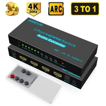 SGEYR 3x1 HDMI Switch with Audio Out Optical SPDIF 3 Port HDMI Audio Switcher Box Selector Audio Extractor Splitter 4Kx2K ARC 3D steyr hdmi 1 4 switch switcher box selector 3 in 1 out hdmi audio extractor splitter with optical spdif audio remote control