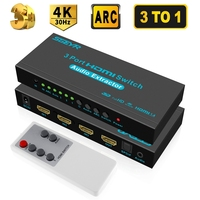 SGEYR 3x1 HDMI Switch with Audio Out Optical SPDIF 3 Port HDMI Audio Switcher Box Selector Audio Extractor Splitter 4Kx2K ARC 3D