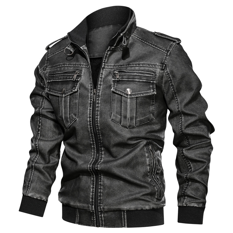 AliExpress Autumn Washing Vintage Motorcycle PU Leather Coat Large Size Loose-Fit Multi-pockets Men's Leather