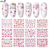 Monja fleur de cerisier Nail Art motif fleur transfert d'eau autocollant dessins romantiques filigrane curseurs décalcomanies manucure décors