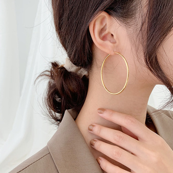 Hot Sell 14K Gold Filled Round Circle 925 Sterling Silver Ladies Hoop Earrings Jewelry For Women Birthday Gift