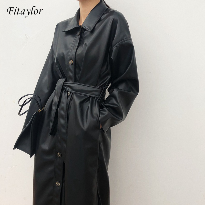 Fitaylor PU Leather Long Jacket 2020 New Spring Women Loose Belt Faux Leather Windbreaker Trench Coat Slim Spring Jacket