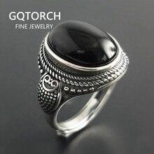 Echte Pure 925 Sterling Zilveren Natuurlijke Zwarte Onyx Stone Ringen Voor Vrouwen Vintage Stijl Thai Zilveren Resizable Open Type