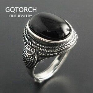Image 1 - Echte Pure 925 Sterling Zilveren Natuurlijke Zwarte Onyx Stone Ringen Voor Vrouwen Vintage Stijl Thai Zilveren Resizable Open Type