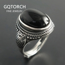 Real Pure 925 Sterling Silver Natural Black Onyx Stone Rings For Women Vintage Style Thai Silver Resizable Open Type
