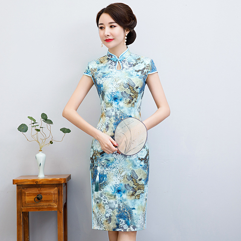 <font><b>Chinese</b></font> Style Evening <font><b>Dress</b></font> <font><b>Sexy</b></font> Cheongsam Vintage Print Flower Satin Elegant Lady Slim Qipao Size M-4XL image