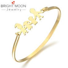 Bright Moon Fashion Jewelry Silver Color Stainless Steel Hand Bangles Suitable Bracelets for Women Men Gift