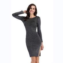 New winter women's long-sleeved knit sweater dress 2019 round neck sexy split buckle buckle bodycon dress цена